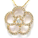 MyCullinan Simulated Diamond CZ Flower Yellow Tone Pendant with 18