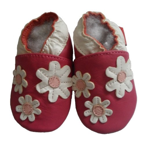 Soft Leather Baby Shoes Little Flowers Pink 6-12 months