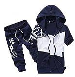(ベクー)Bekoo メンズ ユニオンジャック ジャージ パーカー 上下セット 半袖 ハーフパンツ ダンス トレーニング ルームウェア カラー ブラック ネイビー サイズ M L XL XXL (02 ネイビー L)