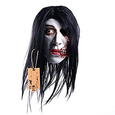 YUFENG Creepy Masks With Red Mouth And Suture Facial Scars ,Halloween Costume Party Horror Scary Mask For Men Or Kids, Latex