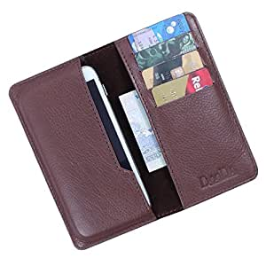 i-KitPit Genuine Leather Flip Pouch Case For Karbonn S9 Titanium (BROWN)
