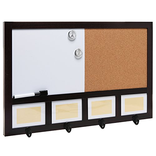 Wall mounted dark brown wood whiteboard cork pushpin for Office display board