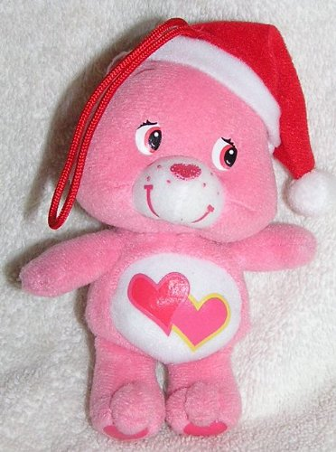 "2005 Care Bears 5"" Plush Love A Lot Bear With Santa Hat Ornament front-975931"