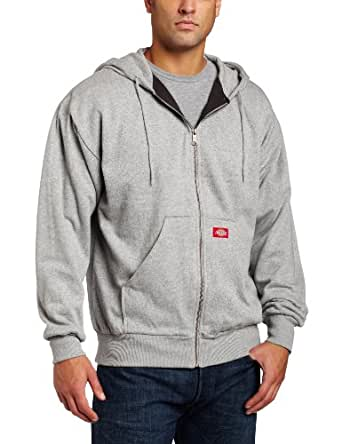 Dickies Men's Thermal Lined Zip Hooded Fleece Jacket, Ash Gray, Small