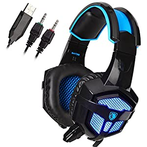 SADES Newest Model SA913 Lightweight PC Gaming Headset USB Over The Ear Stereo Surround Sound Over Ear Headphones with Microphone Vibration Volume Controller Multi-Color LED light for Gamers