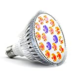 Eagwell Plant Grow Lights , Miracle Grow Plant Light for Hydropoics Greenhouse Organic 3 Bands Plant Light for Fruits and Flowers With 15 Red and 3 Blue ( E27 ,18W )