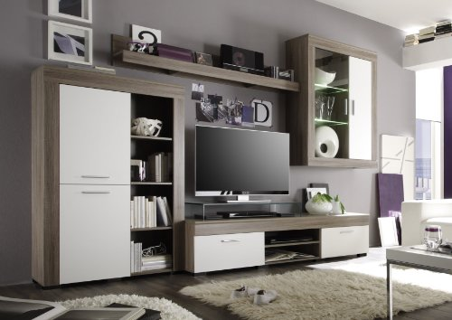 wohnzimmer wohnwand anbauwand wohnzimmerschrank bellflower 294x202x51 cm eiche s gerau. Black Bedroom Furniture Sets. Home Design Ideas
