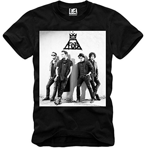 E1SYNDICATE T-SHIRT FOB FALL OUT BOY TOUR CONCERT TICKET CD LP BAND NERO S-XL