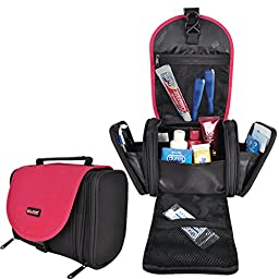 Travelmall Toiletry Bag Organizer wash bag for Women Makeup Men Shaving Kit with Hook Hanging (Red)