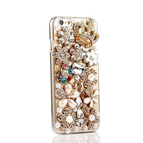Per Apple iPhone 6 4.7 Custodia, Moonmini® Bling Diamond Strass (Rhinestone)s Crystal Transparent Back Phone Case Cover Custodia Per iPhone 6 4.7 Inch - Crown Flowers Pearl
