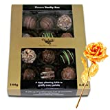Sweet Happiness Of Assorted Truffles With 24k Gold Plated Rose - Chocholik Belgium Chocolates