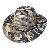 SODIAL(R) メンズワイドフルつば茶黒迷彩メッシュデザインの釣りハイキング帽子キャップ
