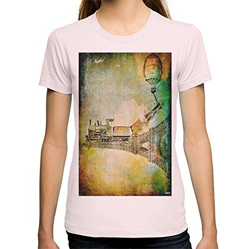 Society6 Women'S The Train On Eiffel Tower T-Shirt Medium Light Pink