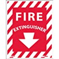 """NMC FXPS4P Fire Sign, """"FIRE EXTINGUISHER"""", 4"""" Width x 5"""" Height, Pressure Sensitive Vinyl, White on Red"""