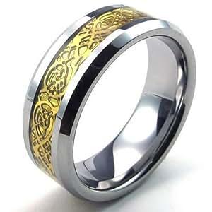 KONOV Mens Tungsten Ring, 8mm Band, Gold Silver Amazon.com