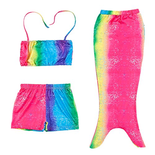 Little Girls Colorful 3pcs Mermaid Tail Swimsuit