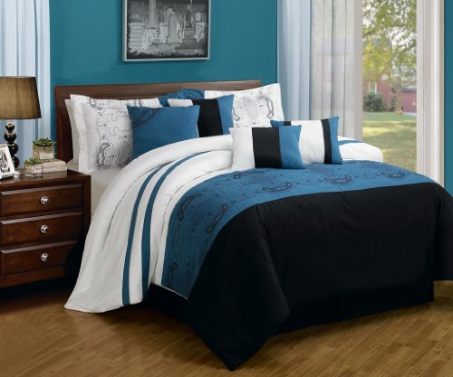 Great  Piece King Sartor Blue and Black Embroidered Bed in a Bag Set