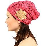 Pretty Floral Applique Soft Thin Knit Long Beanie Slouchy Skull Hat Cap Fuchsia