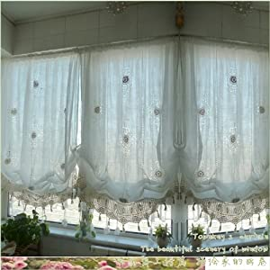 Diaidi Pastoral Style Adjustable Balloon Curtain Living Room Shade Curtains For