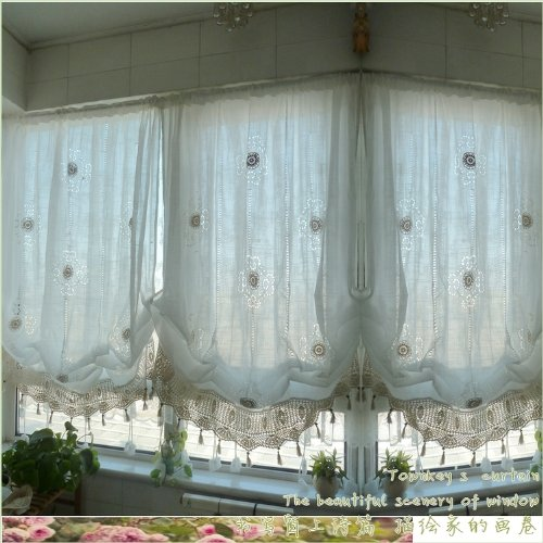 Diaidi Pastoral Style Adjustable Balloon Curtain Living Room Shade Curtains for Living Room Set image