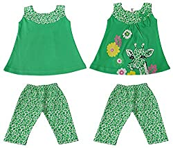 Amykids Baby Girls' Sleeveless Top and Pant Set (4014-g, Green, 6 - 9 Months)