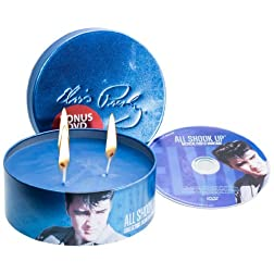 Officially Licensed Elvis Presley DVD & All Shook Up Decorative 16 oz Candle Tin-Ocean, (Limited Edition)