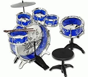 11pc kids boy girl drum set musical instrument toy playset blue toys games. Black Bedroom Furniture Sets. Home Design Ideas