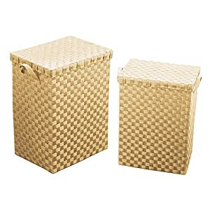 Premier Housewares, Laundry Baskets, Set of 2 Cream Paper Woven, With Handles And Lids