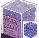 Chessex Dice d6 Sets: Silver Tetra Speckled - 12mm Six Sided Die (36) Block of Dice by Chessex