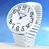 White Super Large Face Stretch Band Fashion Watch - Free Shipping