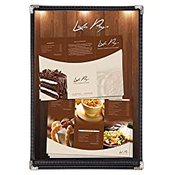 Yescom 30pcs 8.5x14inches Cafe Menu Cover Single 1 Page Double Stitch Protective Corner 2 View Black