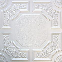 Caracas R28W 20 x 20 Tin Looking Styrofoam Glue Up White Ceiling Tile