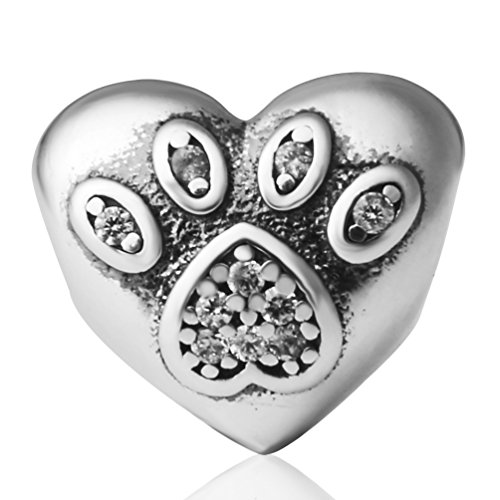 I Love My Pet Heart Dog Paw Print Charms with Clear Stone Authentic 925 Sterling Silver Bead Fits Pandora Charms Bracelet, Xmas Gifts (Pandora Charms Number 1 compare prices)