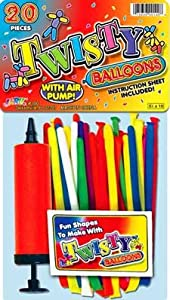 Twisty Assorted Latex Balloons with Pump, 21 Count