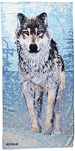KAUFMAN - Snow Wolf Printed Beach Towel by ROYCE