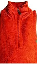 Ralph Lauren Polo Men Halfzip Mock-neck Pullover Cotton Sweater XL Orange