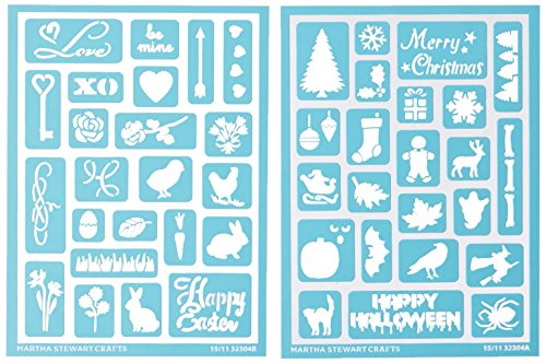 "Plaid:Craft  Martha Stewart Adhesive Stencils 2 Sheets/Pkg-Holiday Icons II 5.75""X7.75"" 46 Designs"