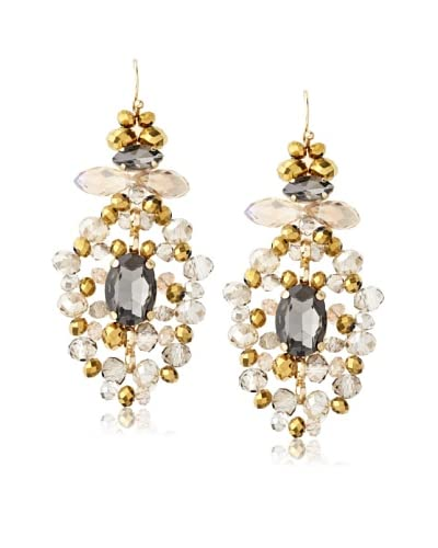 Leslie Danzis Gray Jeweled Fan Chandelier Earrings As You See