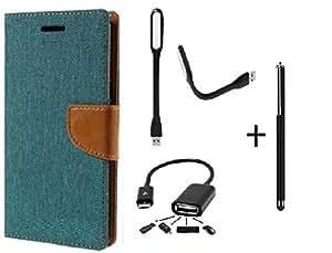 DENICELL Royal Dairy Style Flip Cover For Lenovo A7000 (MATTE GREEN,USB LED LIGHT,OTG,TOUCH PEN)