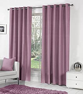 PURPLE 100% COTTON 66x72 168x183CM FULLY LINED RING TOP CURTAINS DRAPES from Curtains