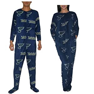 NHL St. Louis Blues Adult One-Piece Footed Pajamas / Romper Jumpsuit Large Dark Blue & Yellow