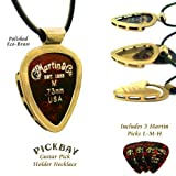 "PickBay Guitar Pick Holder Necklace ECO-BRASS w 27"" Black Leather Cord ECO FRIENDLY ALLOY, Engravable back"