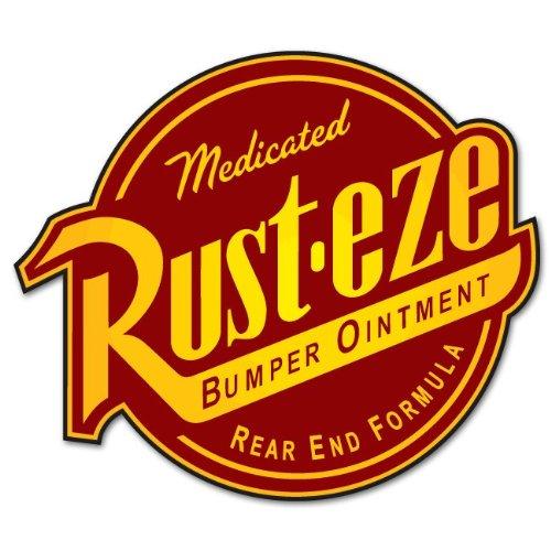 "CARS Pixar Rust-eze bumper ointment Large vinyl sticker 9"" x 12"""