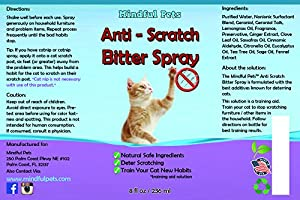 Anti Cat Scratch Deter Spray - Natural Training Solution To Effectively Stop Cats From Scratching Furniture and Household Items, 8oz
