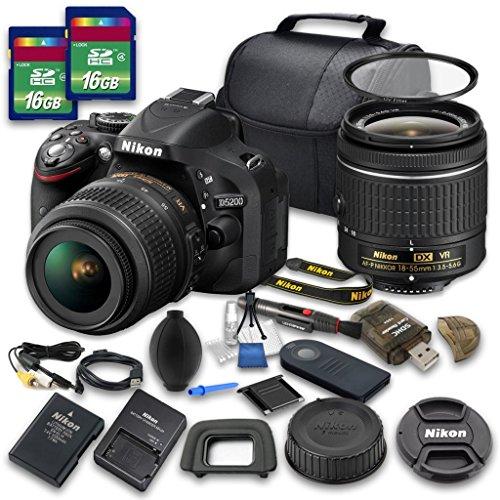 Nikon D5200 Digital SLR Camera with Nikon AF-P DX NIKKOR 18-55mm f/3.5-5.6G VR Lens + 2pc 16 GB SD Card + Cleaning Kit - International Version (No Warranty) (Re 1000 Range Extender compare prices)