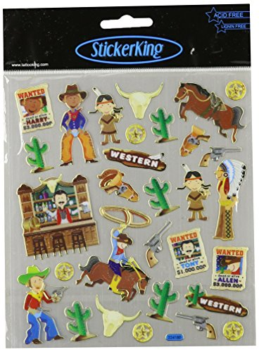 Multi-Colored Stickers-Cowboys & Indians
