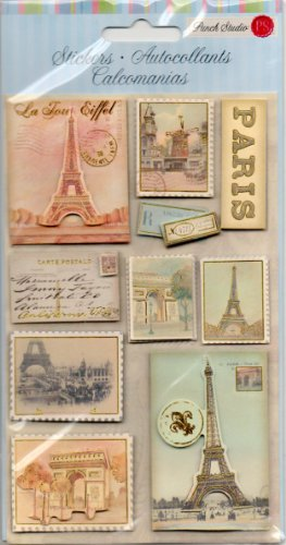 Punch Studio Everyday Dimensional Stickers - Paris Stamps 53369 - 1