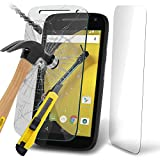Fone-Case ( Pack Of 1 ) Motorola Moto E 2015 2nd Generation Case Brand New Luxury Tempered Glass Crystal Clear LCD Screen Protectors Packs With Polishing Cloth & Application Card