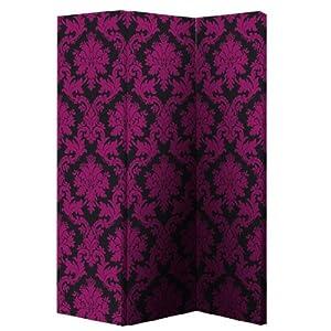 Black/Pink Damask Room Divider 008110 [008110] by Furniture Group