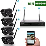 OOSSXX 4-Channel HD 960P Wireless Network/IP Security Camera System(IP Wireless WIFI NVR Kits),4Pcs 1.3 Megapixel Wireless Indoor/Outdoor IR Bullet IP Cameras,P2P,App